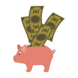 Piggy moneybox cartoon Stock Image