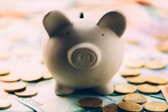 Piggy moneybox with euro cash. And coins closeup. Financial concept Stock Photo