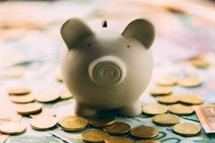 Piggy moneybox with euro cash. And coins closeup. Financial concept Royalty Free Stock Photos