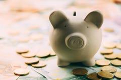 Piggy moneybox med eurokassa Arkivbild