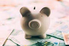 Piggy moneybox med eurokassa Arkivbilder