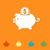 Piggy moneybox med mynt stock illustrationer