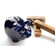 Piggy Moneybox With Sledge Hammer. On White Background Stock Photo