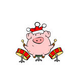 Piggy musician. Piggy play drums while celebrating New Year Stock Images