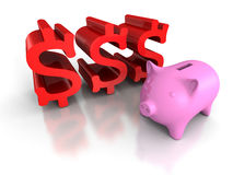 Piggy myntbank med röda dollarvalutasymboler affärsconce Royaltyfri Bild