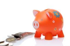 Piggy orange with coin Stock Photos