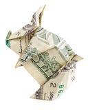 Piggy origami geïsoleerd op wit stock foto's