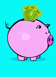 Piggy packa ihop vektor illustrationer