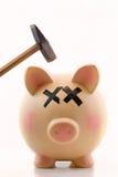 Piggy packa ihop med bultar över det piggys huvudet royaltyfri foto