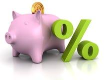Piggy packa ihop med den guld- dollaren myntar, och en grön procent undertecknar Royaltyfri Foto