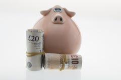 Piggy packa ihop pengar Fotografering för Bildbyråer