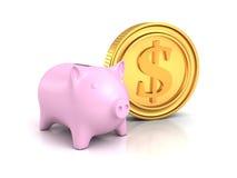 Piggy pengarbank med det guld- dollarmyntet på vit Royaltyfria Bilder