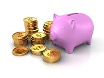 Piggy pengarbank med högar av guld- mynt för dollarvaluta Arkivfoton
