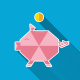 Piggy pig. Flat style. Royalty Free Stock Images