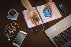 Free Piggy-piglet, Freelancer, Woman, At Her Desk, Laptop, Smartphone, Stock Images - 139093014