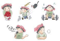 Piggy pojketecknad filmsymbol i olik handlinguppsättning 7 Arkivbild