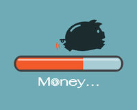 Piggy and progress loading bar. Saving money concept Royalty Free Illustration