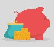 Piggy purse and coins of money concept. Piggy purse and coins icon. Money financial item commerce market and payment theme. Colorful design. Vector illustration Royalty Free Stock Photos