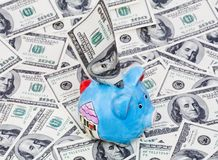 Piggy Querneigung auf Dollarhintergrund Lizenzfreies Stockfoto