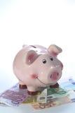 Piggy Querneigung auf einem Stapel der Banknoten Lizenzfreies Stockbild