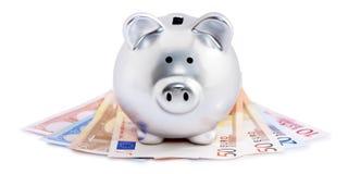 Piggy Querneigung auf Euroanmerkungen Lizenzfreies Stockfoto