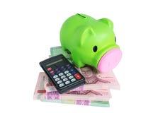Piggy Querneigung auf Geld Stockfotografie