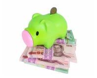 Piggy Querneigung auf Geld lizenzfreie stockfotos