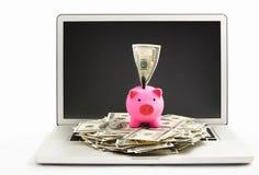 Piggy Querneigung auf Laptop stockfotografie
