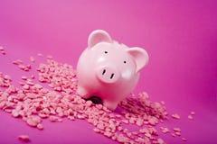 Piggy Querneigung auf rosafarbenem Hintergrund lizenzfreies stockbild