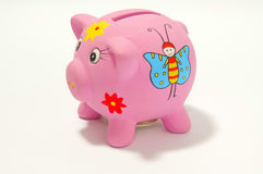 Piggy Querneigung auf Weiß stockfotos