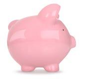 Piggy Querneigung auf Weiß Stockbild