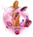 Piggy Querneigung des Glases mit Münzengeld Lizenzfreie Stockfotos