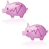 Piggy Querneigung des Marktes lizenzfreie abbildung