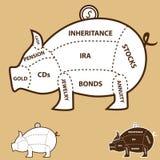 Piggy Querneigung-Diagramm Stockfotografie