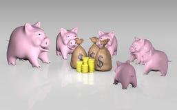 Piggy Querneigung, die das Geld überwacht stock abbildung