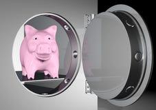 Piggy Querneigung in ein Safe vektor abbildung