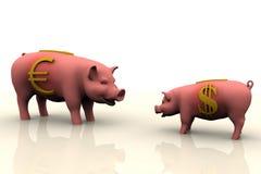 Piggy Querneigung-Finanzierung Lizenzfreie Stockbilder