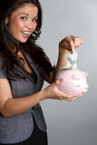Piggy Querneigung-Frau lizenzfreies stockfoto