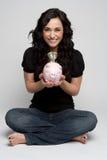 Piggy Querneigung-Frau lizenzfreies stockbild