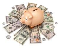 Piggy Querneigung-Geld-Dollar Lizenzfreies Stockfoto