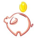Piggy Querneigung. Geld und financ Stockfotos