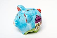 Piggy Querneigung getrennt Lizenzfreie Stockfotos