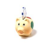Piggy Querneigung getrennt auf weißem Hintergrund Lizenzfreies Stockbild