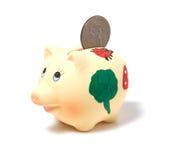 Piggy Querneigung getrennt auf weißem Hintergrund Lizenzfreie Stockfotos