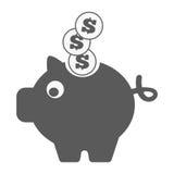 Piggy Querneigung-Ikone Stock Abbildung