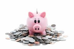 Piggy Querneigung im Stapel der Münzen Stockbilder