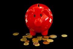 Piggy Querneigung Issolated auf schwarzem Hintergrund Lizenzfreies Stockbild