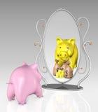 Piggy Querneigung ist vor einem Spiegel vektor abbildung