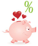 Piggy Querneigung liebt Übereinkünfte Stockfotos