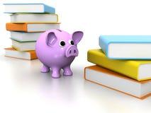 Piggy Querneigung mit Büchern Lizenzfreie Stockbilder